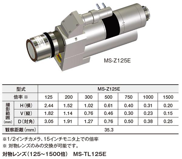 高倍率ズームレンズ(125~1500倍/電動) MS-Z125E
