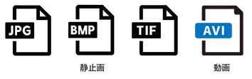 静止画(JPEG/BMP/TIFF等)および動画(AVI)の記録が可能